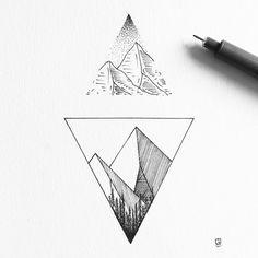 Duo #illustration #illustrator #design #sketch #drawing #draw #mountains #geometry #abstract #minimal #dotwork #linework #art #artwork #artist #artistic #instaart #triangle #tattoo #ink #blackwork #blackworkers #iblackwork #blackandwhite #nature #landscape #wanderlust