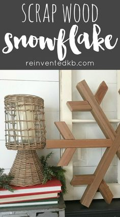 Scrap Wood Projects are my favorite projects.  This DIY wood snowflake is perfect for your winter decor, put it together on a chilly winter day! via @ReinventedKB