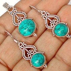 Striking jewelry set including appealing pendant and fascinating pair of earrings adorned with blue Turquoise gemstone pieces..!! #jewelexi #jewelry #jewelryset #silverearrings #silverpendant #pendant #earrings #blueturquoise #gemstone
