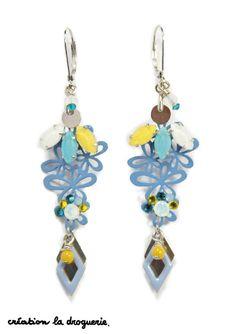 Vous adorez ces BO bleu et jaune ? Nous aussi !!! #ladroguerie #bijoux #bo