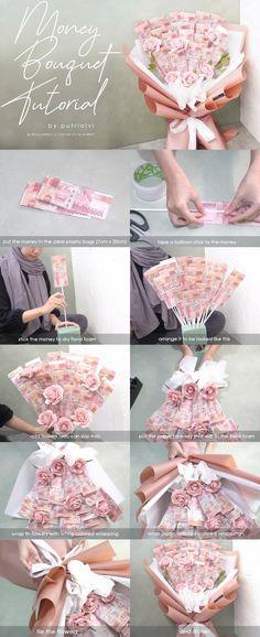 Flower Bouquet Diy, Bouquet Wrap, Gift Bouquet, Money Rose, Money Bouquet, Creative Money Gifts, Money Flowers, Birthday Money, Diy Birthday Decorations
