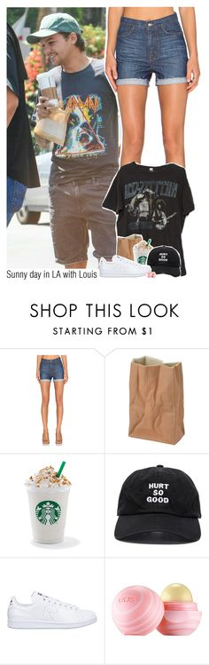 """Sunny day in LA with Louis"" by sixsensestyles ❤ liked on Polyvore featuring Koral, Brandy Melville, Rosenthal, Blackfist, adidas and Eos"