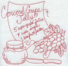 redwork images | redwork design for the basic ingredients in Concord grape jelly ...