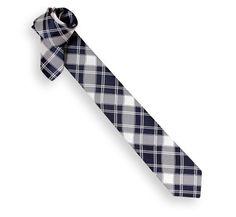 Navy Blue Tartan Pattern Narrow Tie - Skinny Ties - The House of Ties
