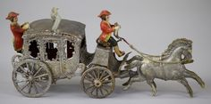 Silver German Dresden horsedrawn coach with two polychrome coachmen in attendance, exquisite detail, excellent condition