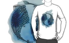 Pisces (blue) by Beatrizxe Available in several models of #t-shirt and #hoodies. Illustration of two fish inspired in zodiac. #zodiac #horoscope #pisces #piscis #japan #japon #koi #sign #signo #circle #ink #tinta #Art #illustration #inspiration #Drawing #Diseño #Dibujo #Digital #DigitalArt #DigitalColor #Creatividad #Creativity #animal #sea #mar #artwork #artist #tattoo