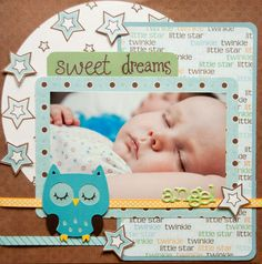 cute! Create a Critter owl. love the blue for boy. this is perfect for paper/lo of Brayden!