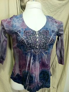 One World Women's Top Size Petite Medium Blouse Live and Let Die