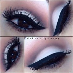 Eyeshadow: white shadow on lower lid, gray on crease, heavy black line. Not your every day look...