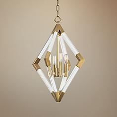 "Hudson Valley Lyons 17 1/4"" Wide Aged Brass Pendant Light"