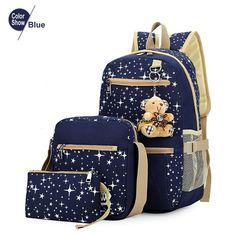 2016 Women Backpack With Bear School Bags For Teenagers Girls Outdoor Backpacks Star Printing Bookbag Cute Back Pack