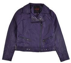 Yoki Big Girls Purple Faux Leather Outerwear Jacket (8-10)