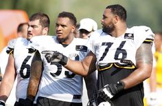 Pittsburgh Steelers guard David DeCastro and center Maurkice Pouncey and tackle Mike Adams during training camp drills at Saint Vincent College.