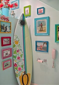 thrifted surf board becomes central theme of room