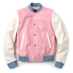 DSQUARED2 Pastel Leather Bomber ($360) ❤ liked on Polyvore featuring outerwear, jackets, tops, pink, leather bomber jacket, bomber jacket, dsquared2, genuine leather jacket and red leather jacket