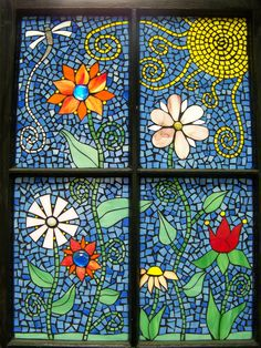 'Funky flowers' mosaic window | Took an old window and did a… | Flickr - Photo Sharing!