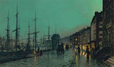 John Atkinson Grimshaw (1836-1893), Shipping on the Clyde (Envío en el Clyde), 1881, Óleo sobre cartón