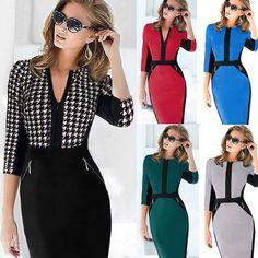 Women Bodycon Tunic Wear To Work Formal Business Party Sheath Slim Pencil Dress