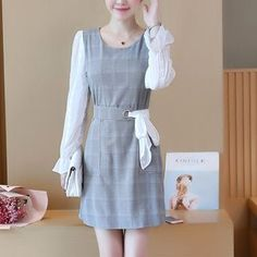 Buy Jolly Club Inset Long-Sleeve Top Sleeveless Plaid Dress at YesStyle.com! Quality products at remarkable prices. FREE Worldwide Shipping available!
