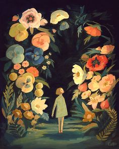 The Night Garden Print by theblackapple (Emily Winfield Martin) on Etsy Art Inspo, Kunst Inspo, Inspiration Art, Art And Illustration, Drawn Art, Guache, Art Design, Oeuvre D'art, Painting & Drawing