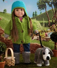 """Walking the Dog for Dolls - 18"""" doll clothes - free crochet pattern including hat, coat & dog!"""