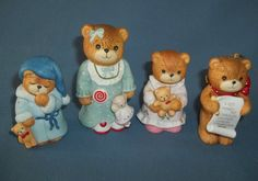 Vintage Set of 4 Enesco Lucy and Me Bear Figurines1984-1986 Holidays Nightgown
