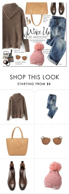 """High-Low Chunky Sweater"" by oshint ❤ liked on Polyvore featuring Wrap, WALL and Clarins"