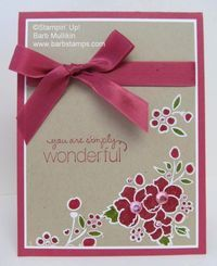 Embossed on Crumb Cake with White EP and colored the flowers and leaves with Stampin' Write Markers.  This card also uses the Rose Red Seam Binding.