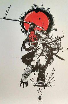 The Slanted Eye on Asian Art since 2013 Ninja Kunst, Arte Ninja, Ninja Art, Ronin Samurai, Samurai Warrior, Anime Kunst, Anime Art, Tattoo Drawings, Art Drawings