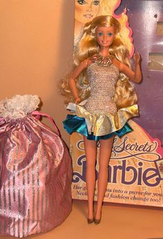 Barbie Jewel Secrets 1986 by 80Barbie collector, via Flickr. i had her. The pink pouch could be worn as a dress.