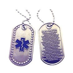Star of Life - EMS Prayer Brushed Steel Dog Tag ** To view further for this item, visit the image link.