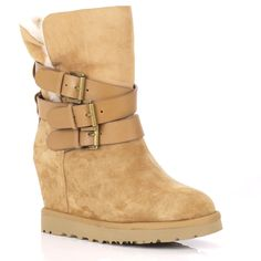 ash yes taupe fleece lined wedge ankle buckle boot