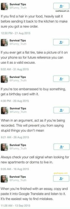 Top 8 Funny Tweets By Survival Tips