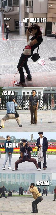 Asians naturally have a perfect horse riding stance...Lucky's..(TKD humor :P)
