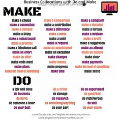 MAKE DO Collocations