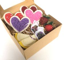 Heart Shaped Cookie Felt Tea Set for Valentine's Day or Anytime.