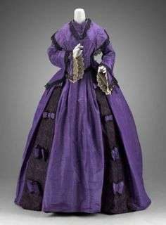Woman's dress with Day Bodice  Faille moire silk, tulle, chantilly lace, and carnival glass buttons