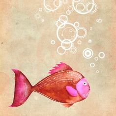 Mix and match: pink and brown. Watercolor illlustration for fish lovers.