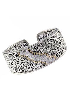 Balissima Classic Silver & Gold Diamond Bangle, .28 TCW
