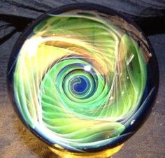 Vortex Ripple Glass Marble by SandSpiritGlass on Etsy