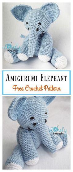 Amigurumi Elephant Free Crochet Pattern #freecrochetpatterns #elephants #crochetpattern