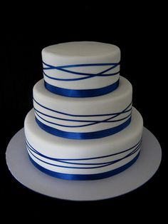 Royal Blue Wrapped Ribbon Wedding Cake