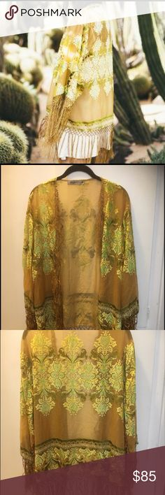 Lenni the Label Haze Kimono OS Chiffon with flocked velvet kimono. Fringe along front edge, hem, and sleeve. Worn a few times, like new, just wrinkly from my closet! Chartreuse, flocking is a mix of yellow, bright green, dark green... really beautiful. One size fits most! Lenni the Label Other