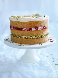 pistachio, raspberry and ricotta layer cake   donna hay magazine issue 83, food photography, food styling, cake photography