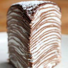 Mille Crepe Cake Recipe by Tasty Chocolate Crepes with Whipped Cream Layers & Chocolate Ganache Just Desserts, Delicious Desserts, Layered Desserts, Chocolate Crepes, Crepe Cake Chocolate, Chocolate Ganache, Chocolate Butter, Chocolate Desserts, Nutella Crepes