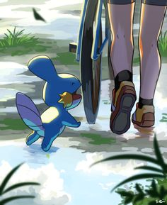Mudkip with May Pokemon Fan Art, My Pokemon, Pokemon Stuff, Pokemon Fusion, Game Boy, Sapphire Pokemon, Pikachu, Mudkip, Pokemon Special