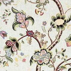 """Cheltenham Floral Breeze 100% flax Calico Corners $37.99 yd 54"""" wide"""
