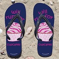 Will Run for Cupcakes on Navy Flip Flops - Kick back after a run with these great flip flops! Fun and functional flip flops for all runners.