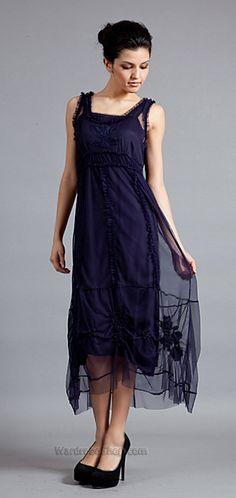 132 Blue Violet Tulle Smocked Dress