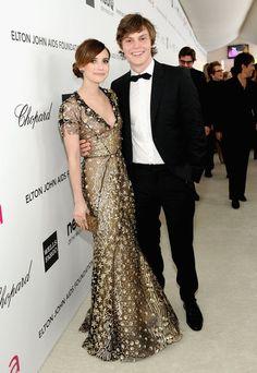 Emma Roberts in Oscar de la Renta with Evan Peters | Elton John's 2013 Oscar party